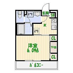 東京都葛飾区東四つ木4丁目の賃貸アパートの間取り