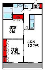 JR鹿児島本線 新宮中央駅 徒歩13分の賃貸マンション 3階2LDKの間取り