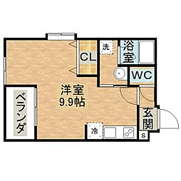 すまいるマンション平和町 1階ワンルームの間取り