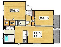 寿樹[A201号室]の間取り