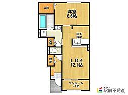 鵜木アパート(新築) 1階1LDKの間取り