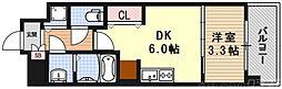THE GARNET MILLENNIUM KYOTO九条烏丸 6階1DKの間取り