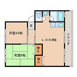 静岡県静岡市駿河区丸子芹が谷町の賃貸マンションの間取り