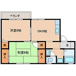 近鉄天理線 天理駅 徒歩15分の賃貸アパート 2階2DKの間取り