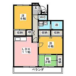 リネット多加木[3階]の間取り