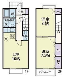 [テラスハウス] 神奈川県厚木市林5丁目 の賃貸【神奈川県/厚木市】の間取り