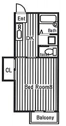 サンビーム岩田1[1階]の間取り