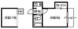 カンターレ坪井[202号室]の間取り