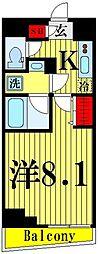 都営大江戸線 両国駅 徒歩4分の賃貸マンション 7階1Kの間取り
