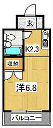 京都府京都市山科区竹鼻西ノ口町の賃貸マンションの間取り