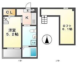 愛知県名古屋市西区笹塚町2丁目の賃貸アパートの間取り
