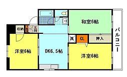 広島県広島市東区温品2丁目の賃貸マンションの間取り
