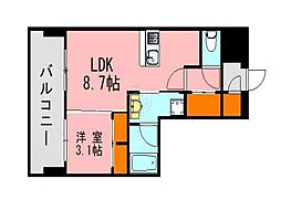 LANDICK320 9階1LDKの間取り