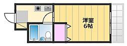 カルム新金岡 4階1Kの間取り