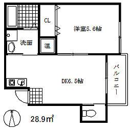 JR東海道・山陽本線 三ノ宮駅 徒歩12分の賃貸アパート 1階1DKの間取り