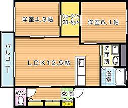 リバプール弐[2階]の間取り