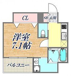Grandi甲子園Park5 6階1Kの間取り