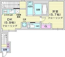 ベル・グラース 2階1DKの間取り