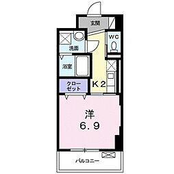 JR東海道本線 浜松駅 徒歩5分の賃貸マンション 2階1Kの間取り
