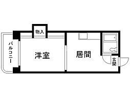 ノースタウンハウス 3階1DKの間取り