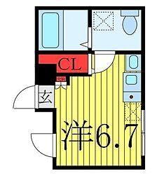 Horizon Blue Oji 4階ワンルームの間取り