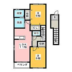 ダンディライオン A棟[2階]の間取り