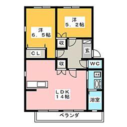 ピースフルメゾン N棟[2階]の間取り