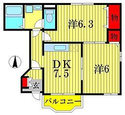 千葉県柏市柏の賃貸アパートの間取り