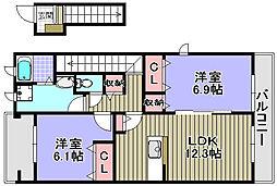 ネオビヤン1・2[1-203号室]の間取り