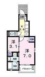 広島県広島市安芸区矢野西6丁目の賃貸アパートの間取り