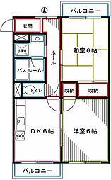 JR中央本線 国立駅 徒歩15分の賃貸マンション 3階2DKの間取り
