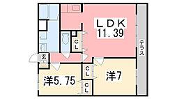 兵庫県姫路市広畑区西蒲田の賃貸マンションの間取り