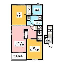 愛知県豊川市大崎町野中の賃貸アパートの間取り