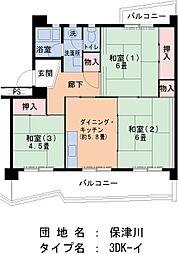 UR保津川 5階3DKの間取り