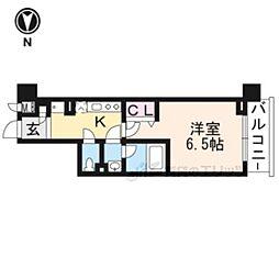 京都地下鉄東西線 東山駅 徒歩7分の賃貸マンション 4階1Kの間取り