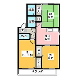 クレールコンフォートA[2階]の間取り