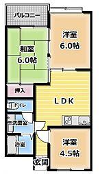 フラワハイツ[3階]の間取り