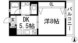 兵庫県宝塚市千種2丁目の賃貸マンションの間取り