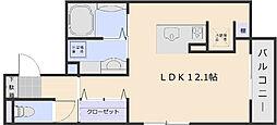 Soleil Levant 1階ワンルームの間取り