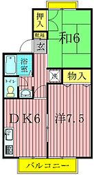 千葉県柏市増尾5の賃貸アパートの間取り