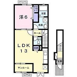 熊本市電A系統 神水交差点駅 徒歩11分の賃貸アパート 2階1LDKの間取り