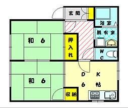 ワンズコーポ古賀[2階]の間取り