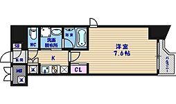 大阪府大阪市中央区上町の賃貸マンションの間取り