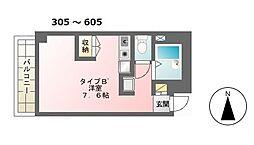 KSハイツ[605号室]の間取り