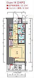 JR東海道・山陽本線 兵庫駅 徒歩3分の賃貸マンション 6階1Kの間取り