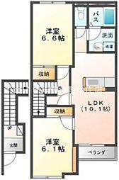 岡山県倉敷市北畝4の賃貸アパートの間取り