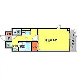 阪急千里線 山田駅 徒歩5分の賃貸マンション 4階1Kの間取り