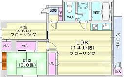 長島ビル 2階2LDKの間取り