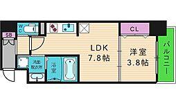 レオンコンフォート谷町九丁目 13階1DKの間取り