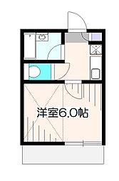 東京都小平市美園町2丁目の賃貸アパートの間取り